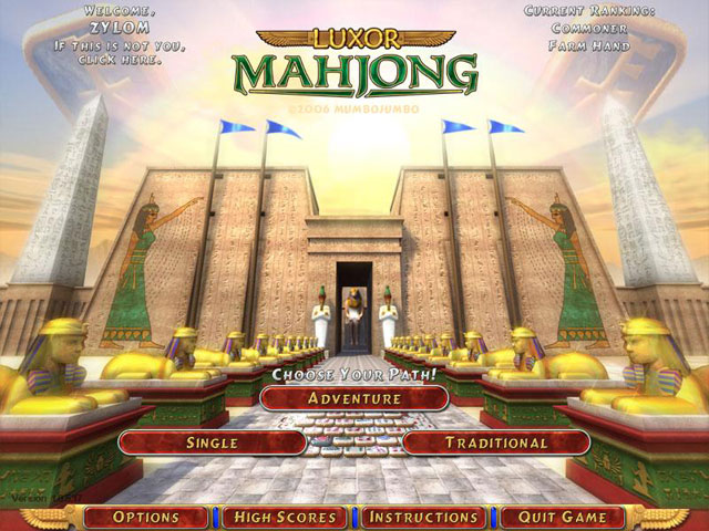 Screenshot 1 for Luxor Mahjong Deluxe.